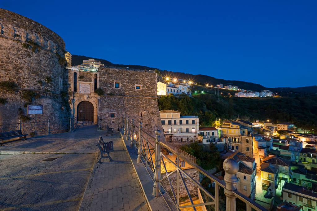 Pizzo or Pizzo Calabro, district of Vibo Valentia, Calabria, Italy, view of the village with the Aragonese castle, located in the Gulf of Sant'Eufemia