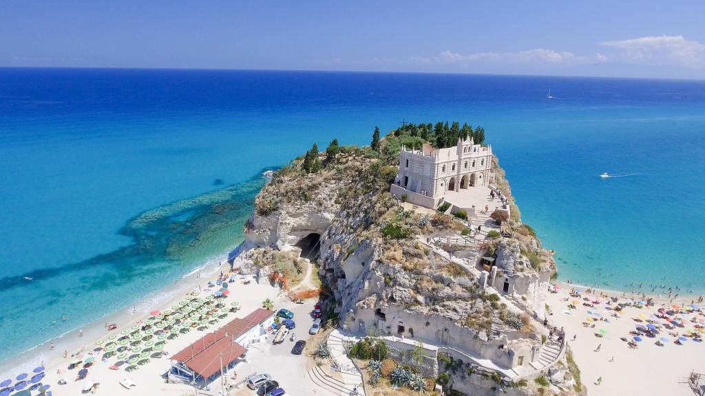 Tropea, Italy. Aerial view of Santa Maria dell'Isola Monastery.