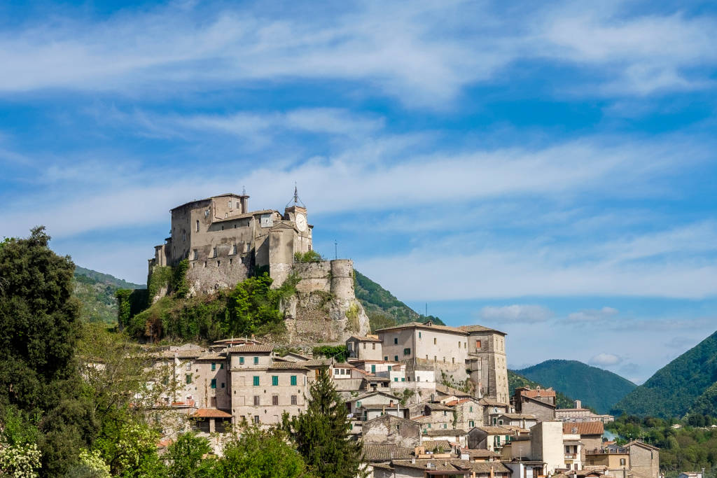 Old town of Subiaco with the Abbatial Fortress on the top - Subiaco (Rome) Italy - Borgia's Castle