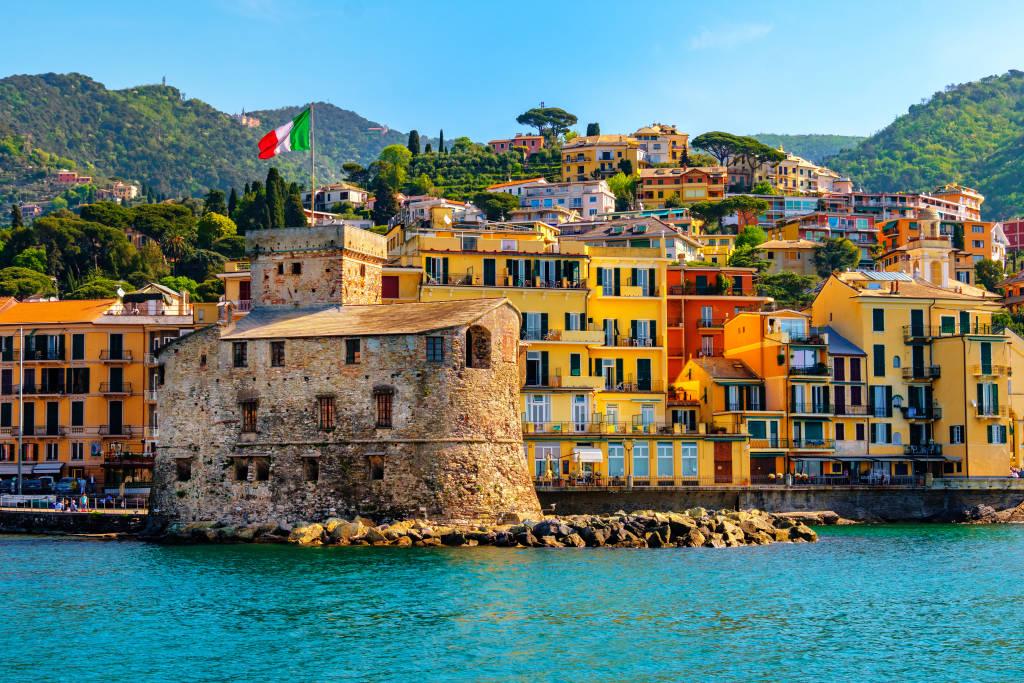 italian castle by the sea Castello di Rapallo in the italian riviera Portofino area - Genova - Liguria - Italy .