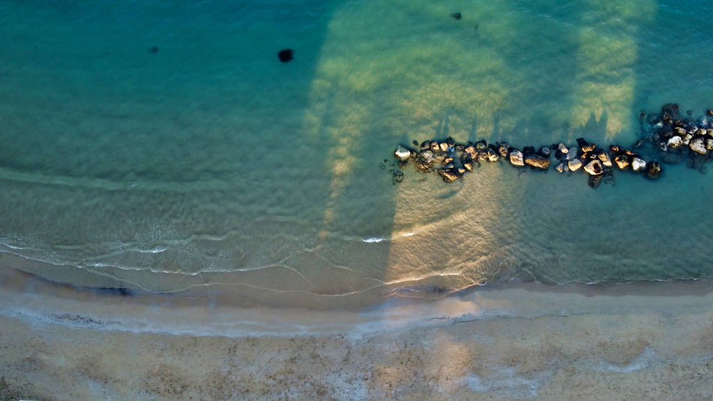 Aerial view of the beach at Francavilla al Mare, Abruzzo, Italy on a winter afternoon