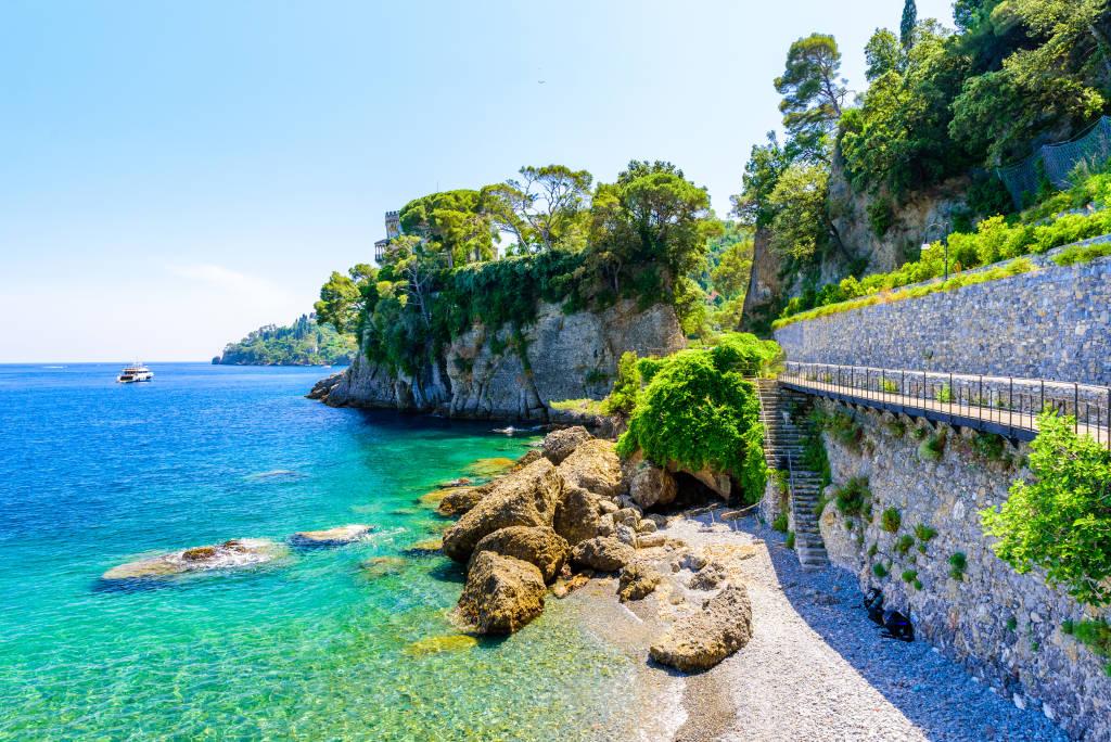 Bay of Paraggi in Santa Margherita Ligure with paradise white beach, close to Portofino. Mediterranean sea of Italy.