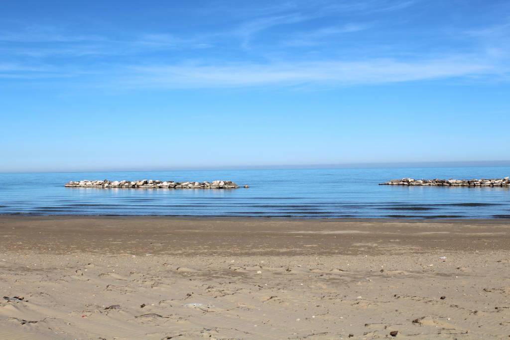 Beach in winter san salvo marina,abruzzo,italy.