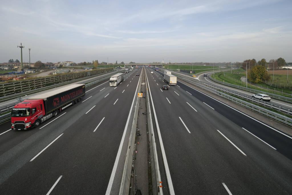 Dalmine, Bergamo, Italy: 10 November 2020:Highway Milan Venice regular traffic despite the lockdown in Lombardy. Dalmine, Italy.