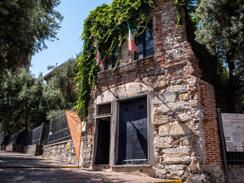 Genoa, Italy - July 1, 2019: Christopher Columbus child hood home, in the heart of Genoa, shot Midday in Summer, Genoa tourist attraction, No People, Copy Space