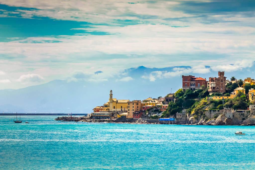 Genoa landmark Boccadasse and beautiful turquoise sea water.