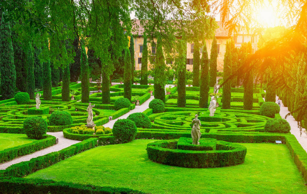 Giusti garden in Verona, Italy. Architecture and landmark of Verona. Postcard of Verona