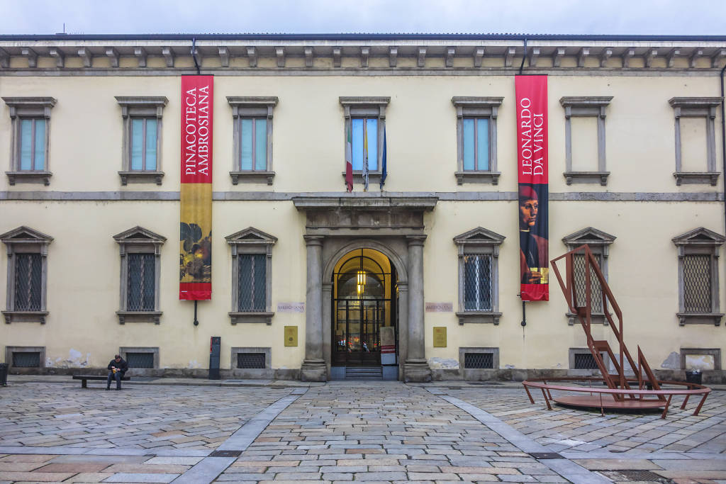 MILAN, ITALY - DECEMBER 30, 2017: Pinacoteca Ambrosiana - art gallery, was established in 1618, when Cardinal Federico Borromeo donated his collection of paintings, drawings and statues.