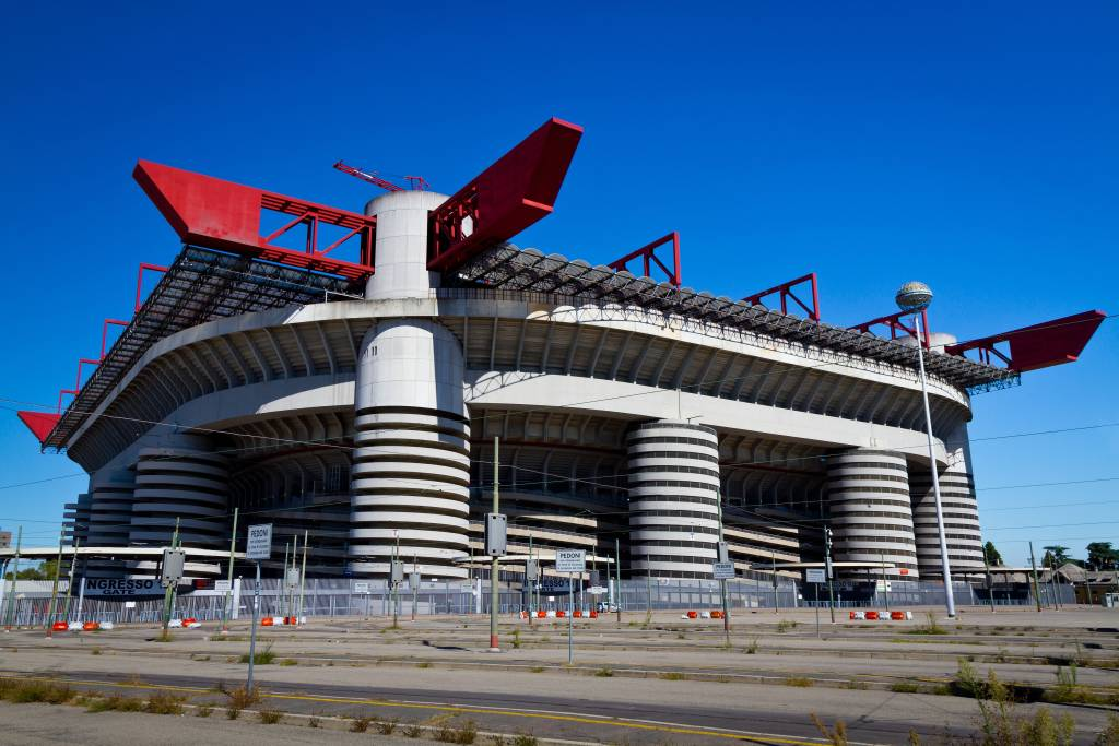 MILAN, ITALY - SEPTEMBER 13: San Siro football stadium on September 13, 2013 in Milan. It is the home of two teams A.C. Milan and F.C. Internazionale Milano.
