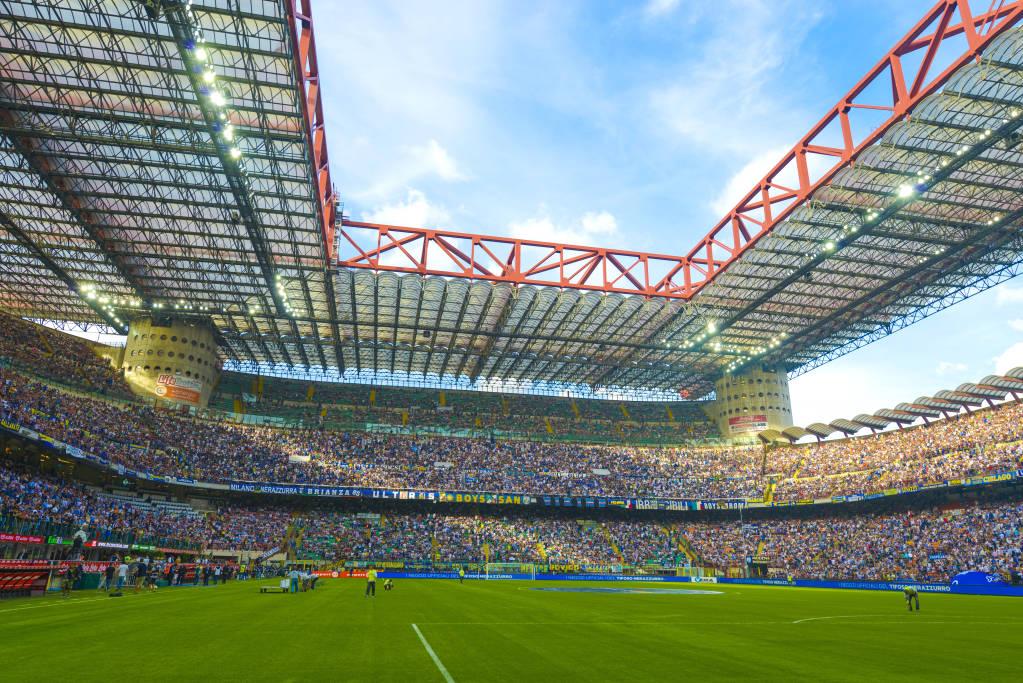 MILAN, ITALY - SEPTEMBER 14: San Siro soccer stadium full of 80.000 fans before the Serie A match Inter vs Juventus in Milan September, 14 2013.