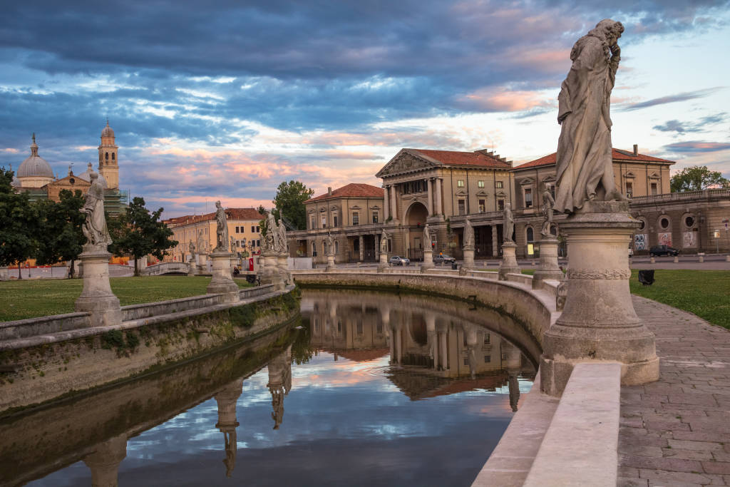 padova central square, fragment of Prato della Valle in Padua, Veneto, Italy.View of the canal with statues