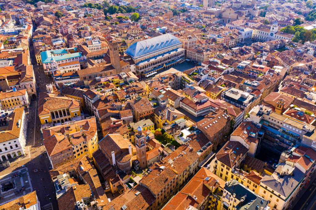 Panoramic aerial view of Padua cityscape with buildings and streets, Italy
