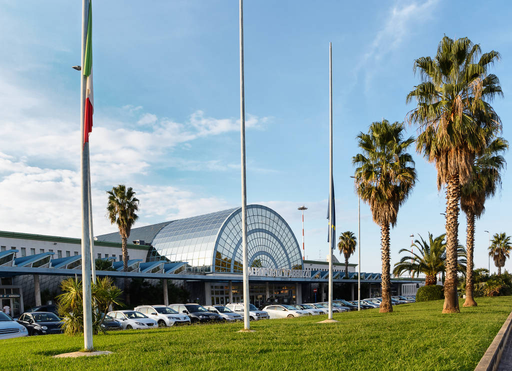 Pescara, Italy - September 23, 2016: View from the parking lot and exterior of the airport of Pescara in a sunny day with nobody