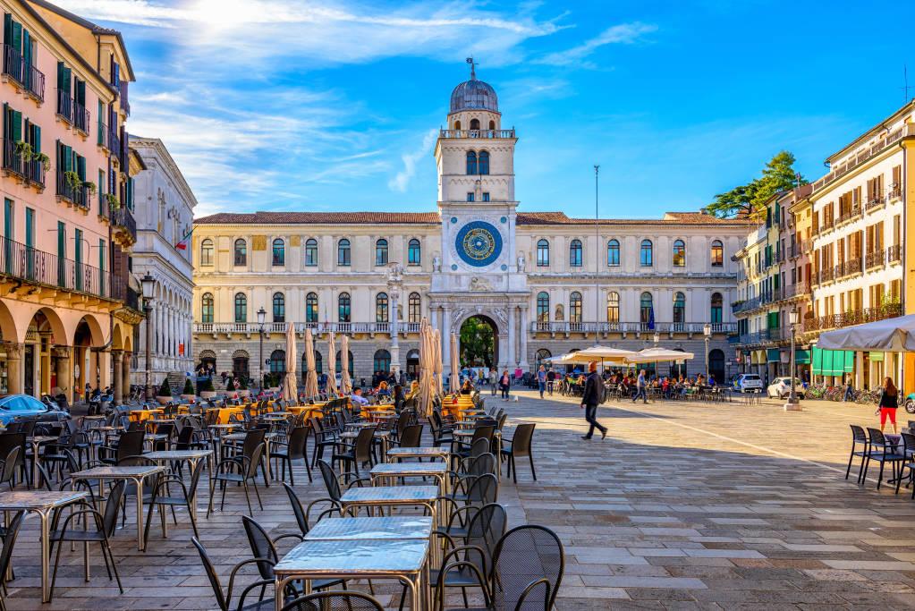 Piazza dei Signori and Torre dell'Orologio (Clock Tower) in Padua (Padova), Veneto, Italy