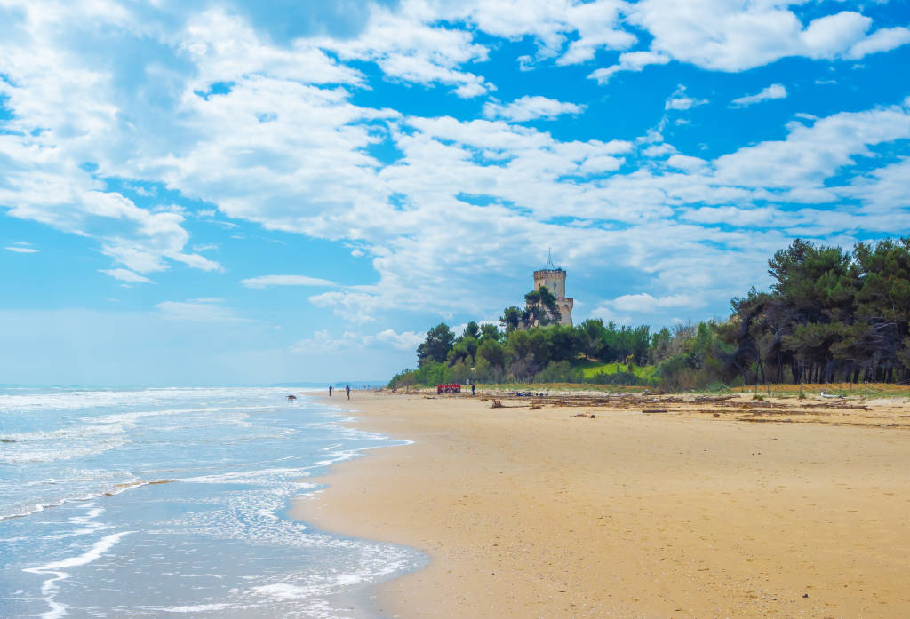 Pineto, Italy - 19 May 2019 - The touristic sandy beach of Abruzzo with the monumental pine forest and the famous tower castle called Torre di Cerrano