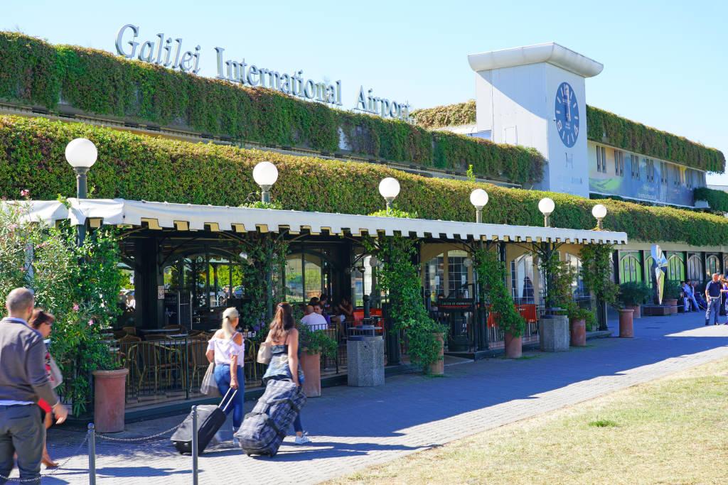 PISA, ITALY -28 SEP 2018- View of the Galileo Galilei Pisa International Airport (PSA), the main airport in Tuscany, Italy.