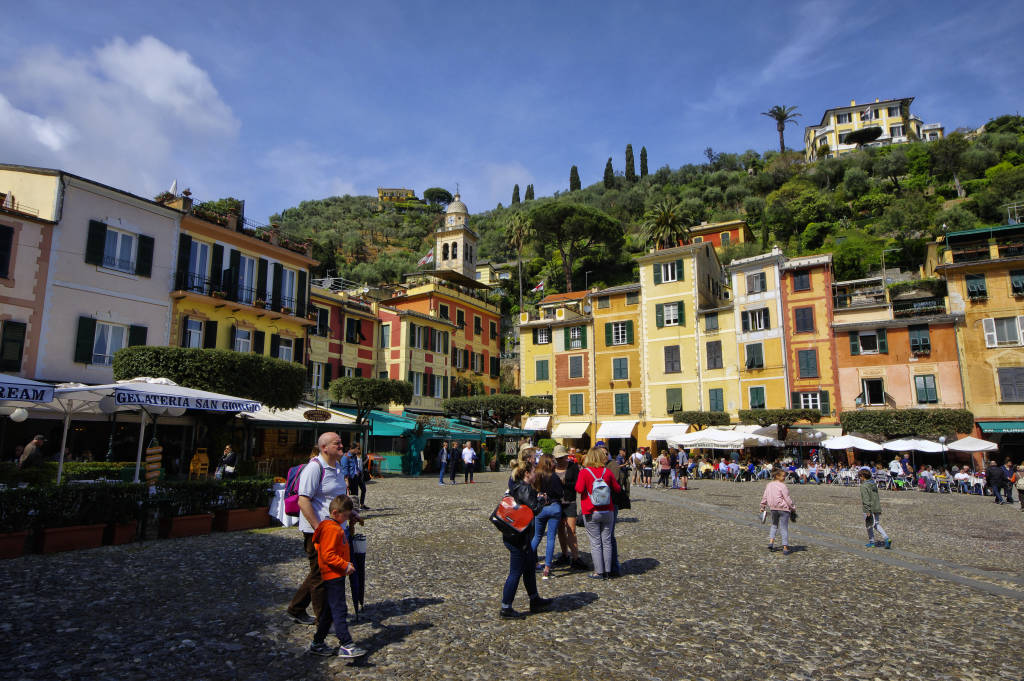 Portofino, Italy - April 15, 2017: Piazza Martiri dell'Olivetta in Portofino, Portofino is one of the most  famous holiday resort. Liguria region, Italy