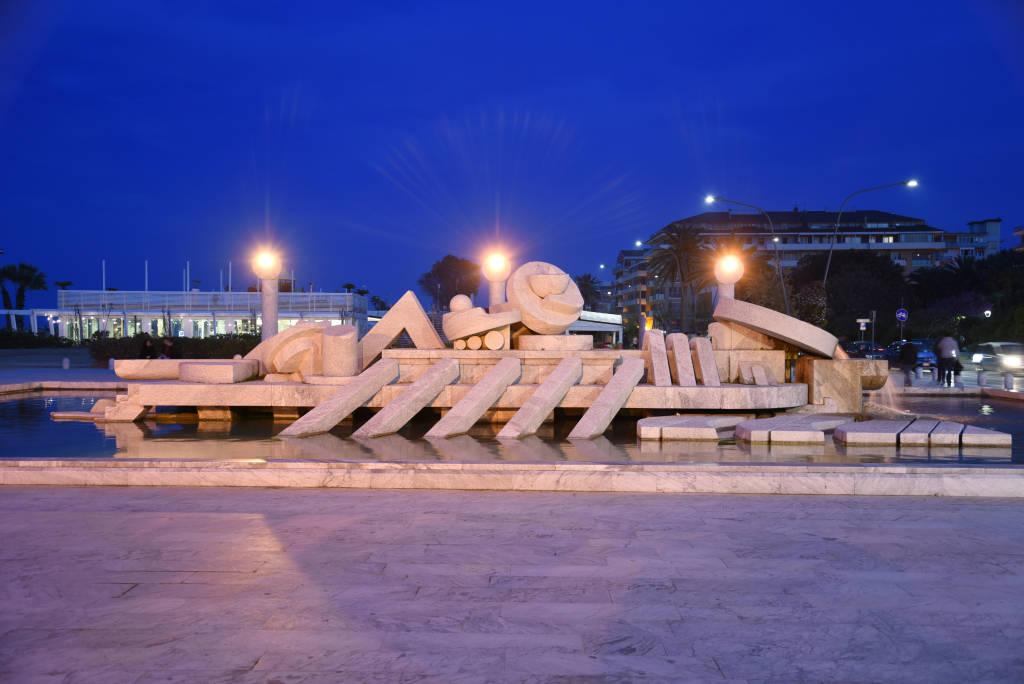 """""""Nave di Cascella"""" Fountain in Pescara by night, Italy, Abruzzo"""