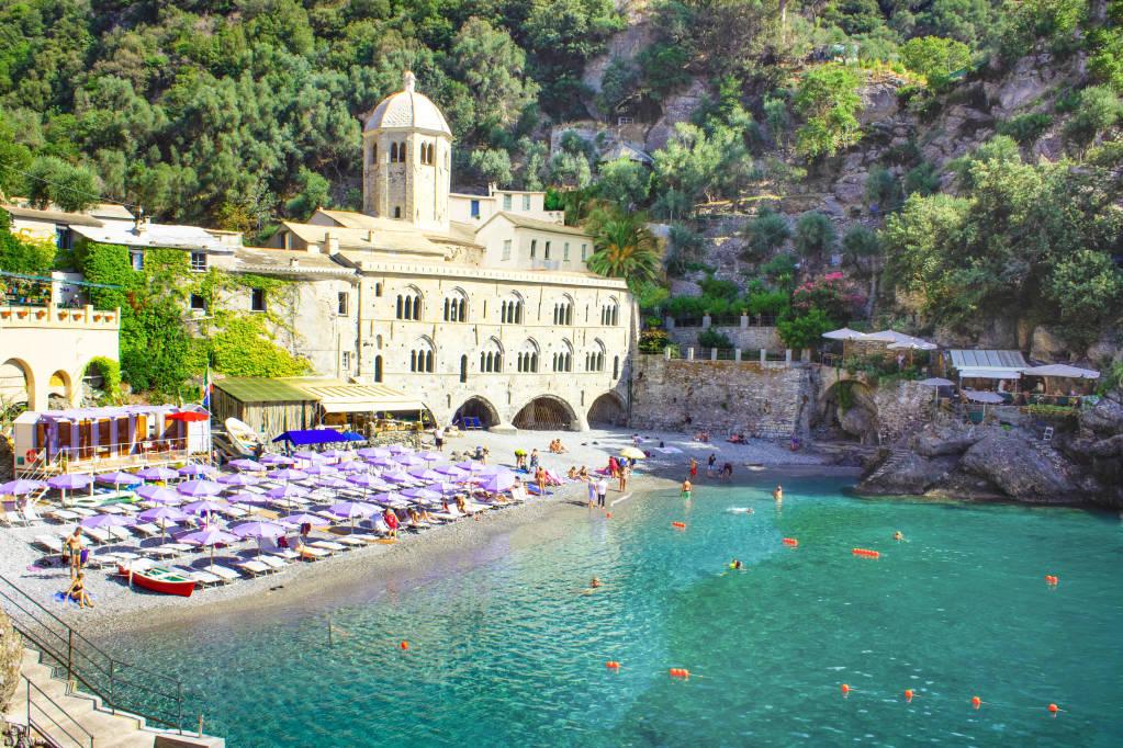 San Fruttuoso abbey in Camogli, Liguria at Italy