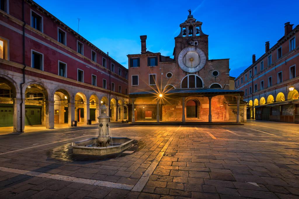 San Giacomo di Rialto Square and Church in the Morning, Venice, Italy