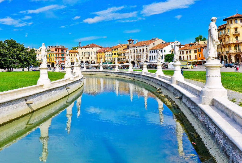 The piazza of Prato della Valle in Padua, Italy. The square is the biggest square in Europe with the area of 90 thousand square meters.