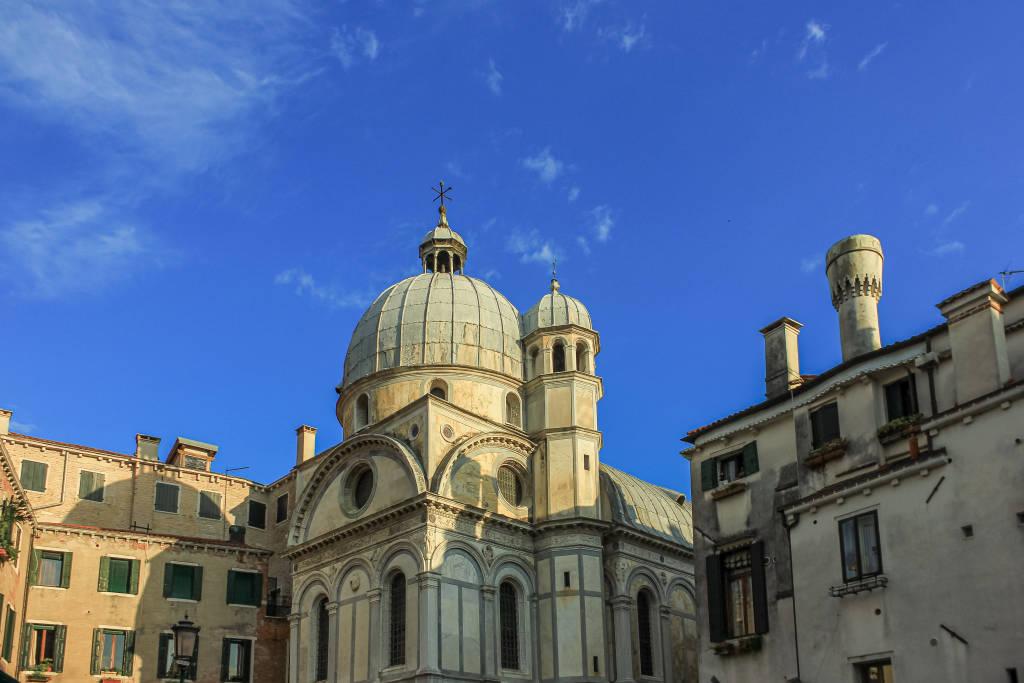 Venice, Italy - May 29, 2020: Exterior details of Chiesa di Santa Maria dei Miracoli in Venice