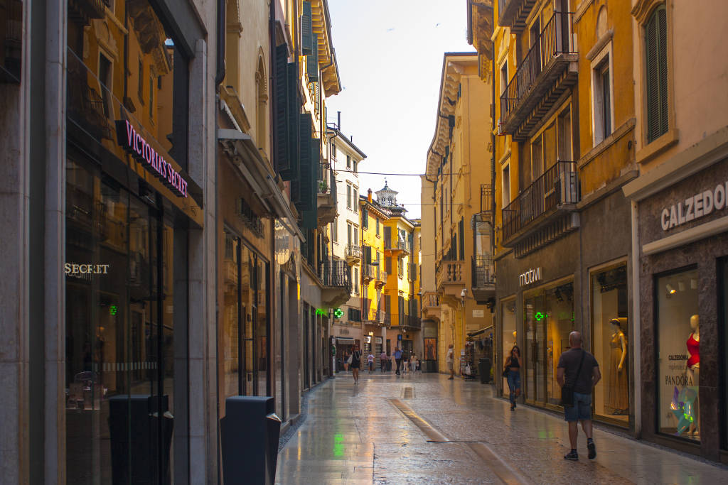 Verona, Italy - June 21, 2018: Mazzini street - popular touristic shopping street in Verona
