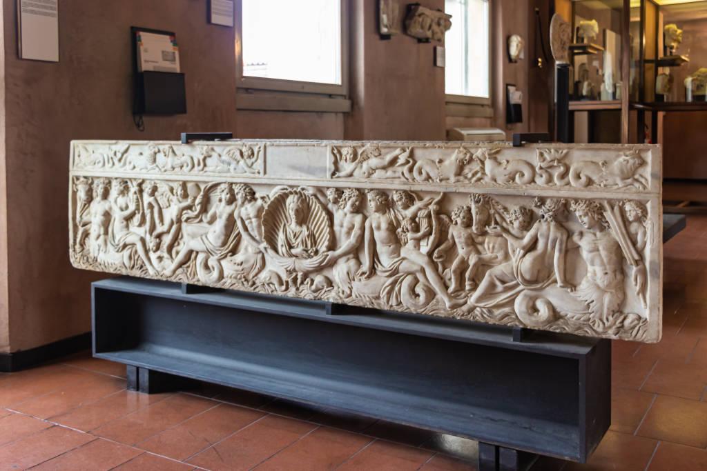 Verona, Italy - September 26, 2015 : Fragments of decoratively decorated stone gravestones at an exhibition in the Museo Lapidario Maffeiano in Verona, Italy