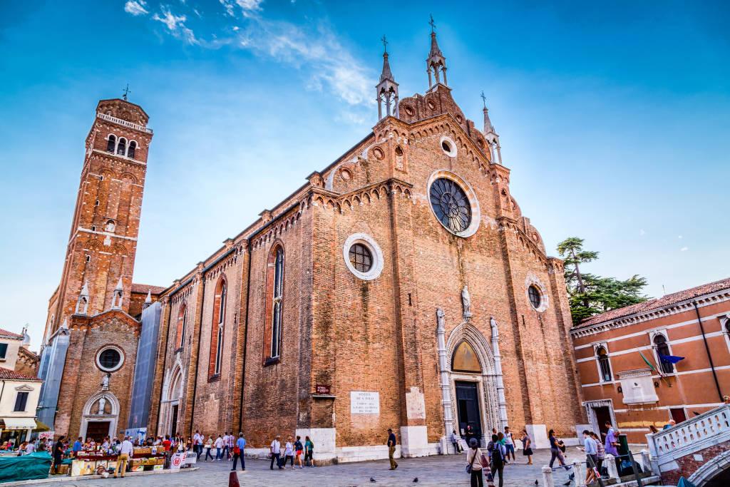 View of Santa Maria Gloriosa dei Frari Church in Venice, Italy (Basilica di Santa Maria Gloriosa dei Frari) on a sunny summer day