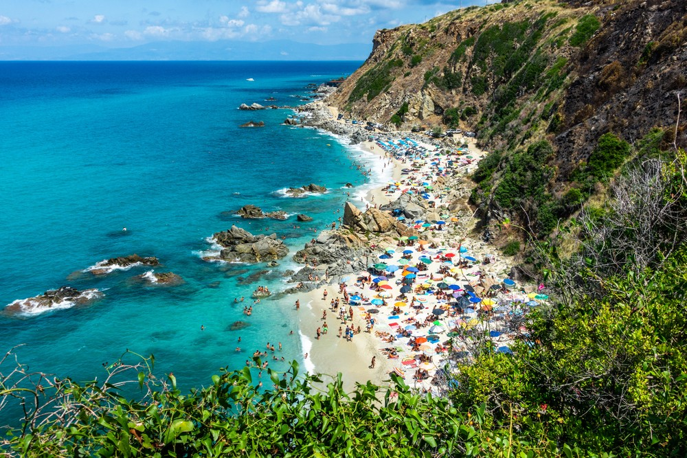 """Aerial view of Zambrone """"Paradiso del Sub"""" beach, one of the most beautiful beach of Calabria region. Zambrone, Italy, Aug. 2020"""