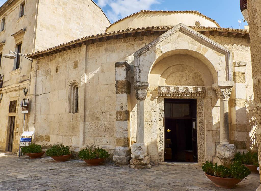 Brindisi, Italy - August 12, 2017. Principal facade of Tempio di San Giovanni al Sepolcro temple of Brindisi, Apulia, Italy.
