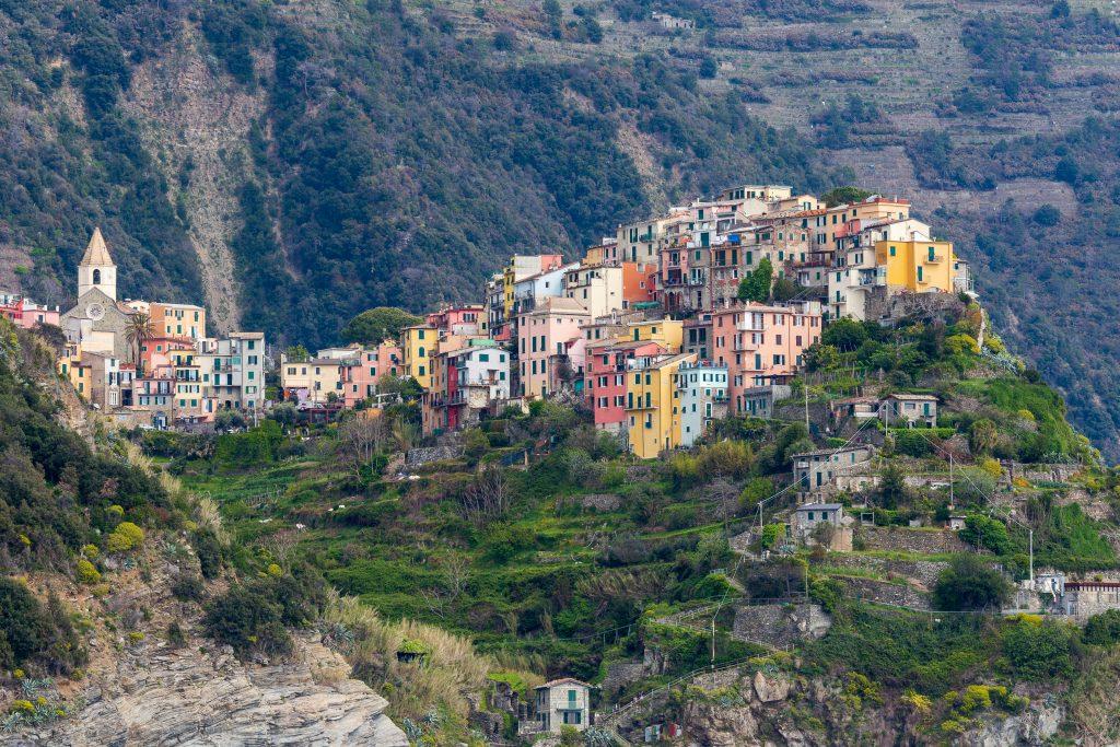 Cinqueterre, Italy . 04-19-2019. View of Corniglia village one of five villages of Cinqueterre. Liguria. Italy.