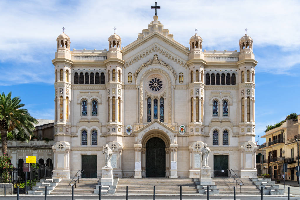 Facade of Reggio Calabria Cathedral built in 1928 in modern eclectic style. Reggio Calabria, Italy, August 2020