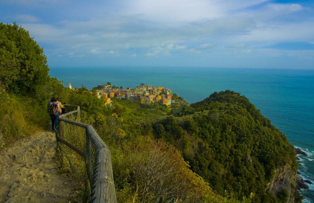 Hiking to Corniglia village in Cinque Terre, Italy.