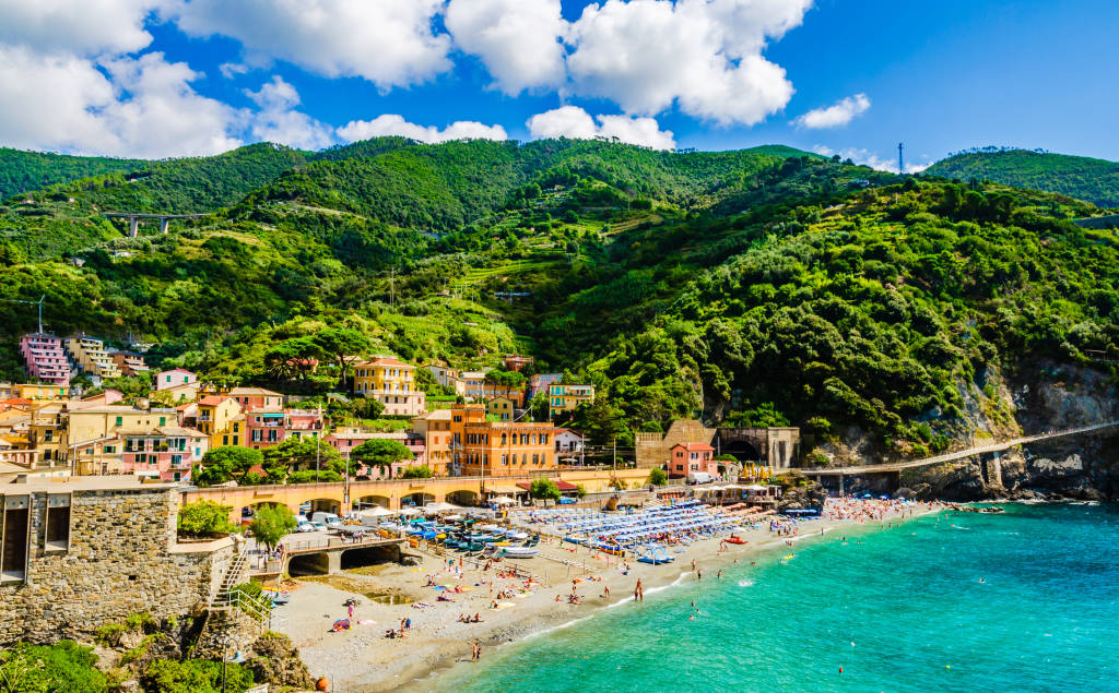 Monterosso al Mare, Liguria, Italy: The largest of the five centuries-old seaside villages of the Cinque Terre in the province of La Spezia, on the Italian Riviera of the Ligurian Sea, Tyrrhenian Sea.