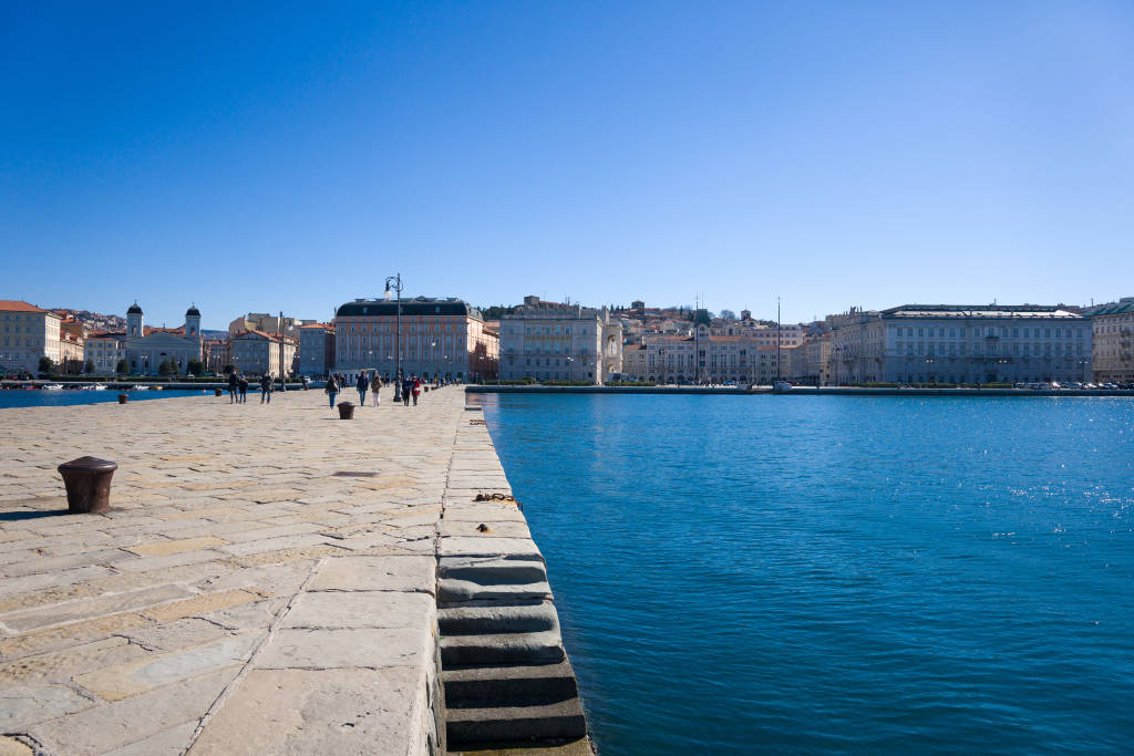 Trieste, Italy. February 28, 2021 Trieste, panorama from the Molo Audace of Trieste, in the background Piazza Unità d'Italia
