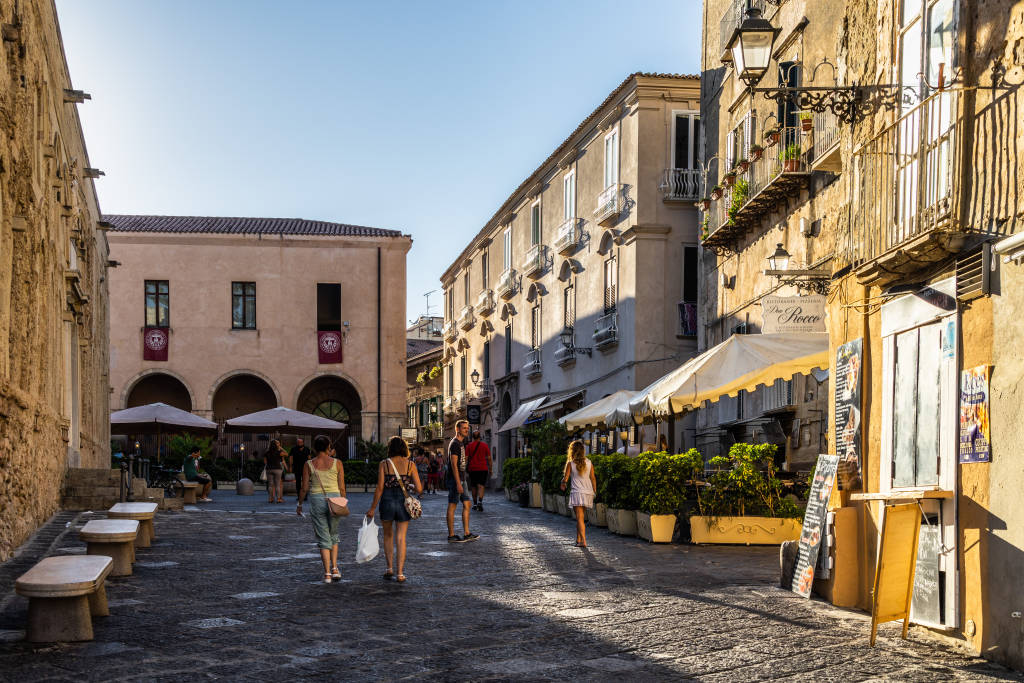Tropea, Calabria Italy – Aug. 2020: A typical street in Tropea old town at sunset