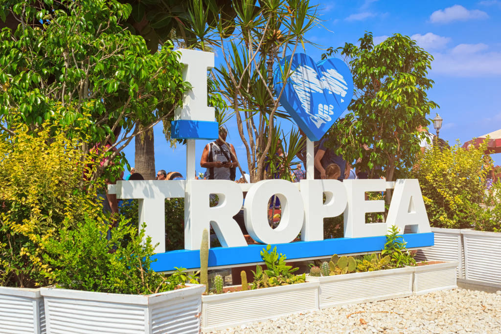Tropea, Italy - September 8, 2019: The big word I love Tropea caption. Symbol of city for photography and selphies.