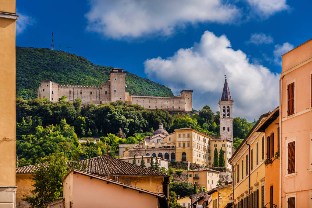 View of the ancient city of Spoleto in Umbria, with its most famous medieval monuments