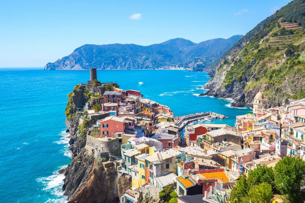 View of Vernazza one of Cinque Terre in the province of La Spezia, Italy.