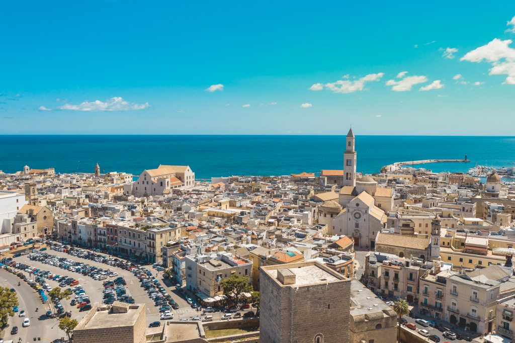 """Aerial view of Bari old town. On the left there is Bari Cathedral (Saint Sabino), on the left there is """"San Nicola Basilica"""", Bari second Cathedral. These churches were built during middle ages."""
