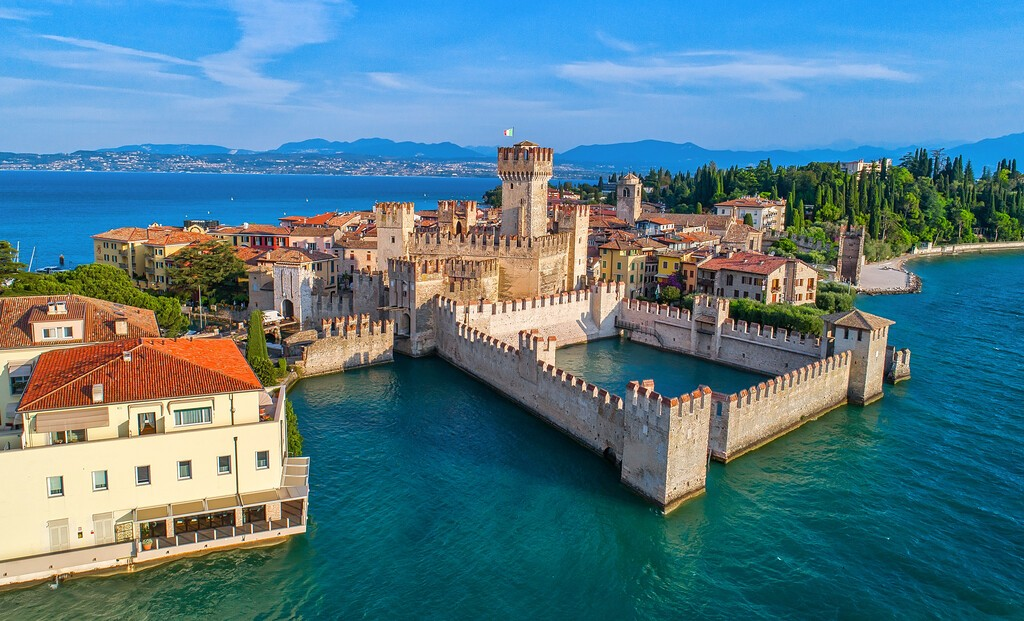 Aerial,View,To,The,Town,Of,Sirmione,,Popular,Travel,Destination