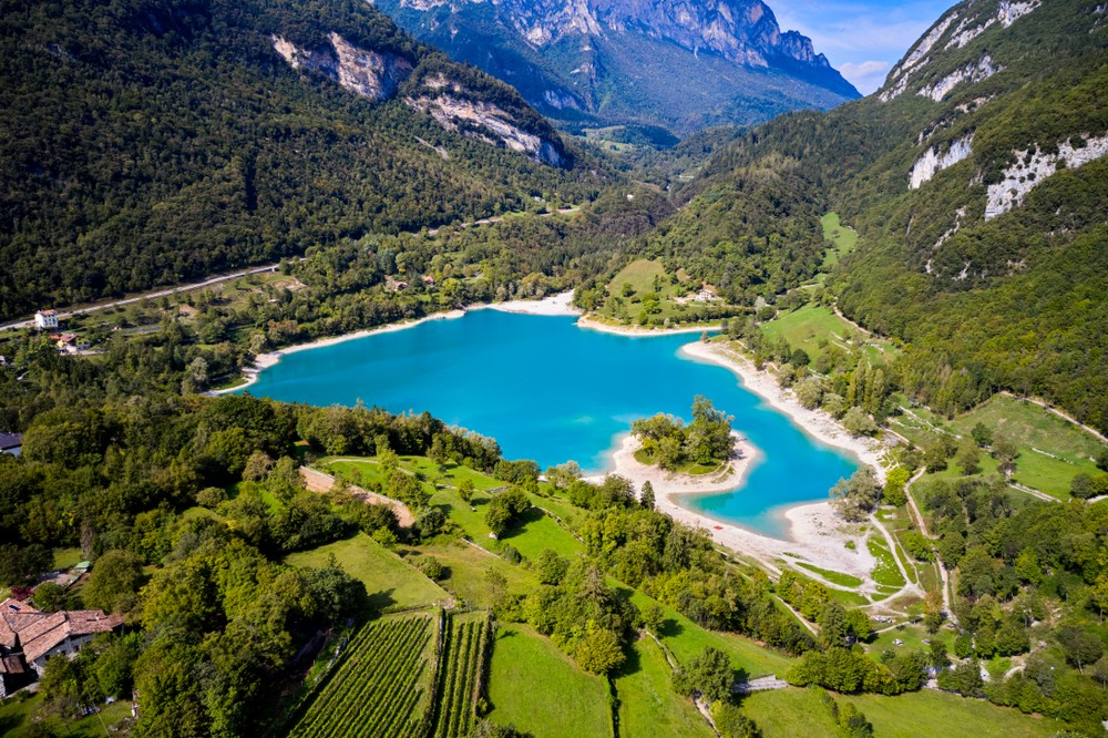 Arial,View,Of,Lake,Tenno,In,Autumn,trento,italy,,Europa.,Turquoise,Lake