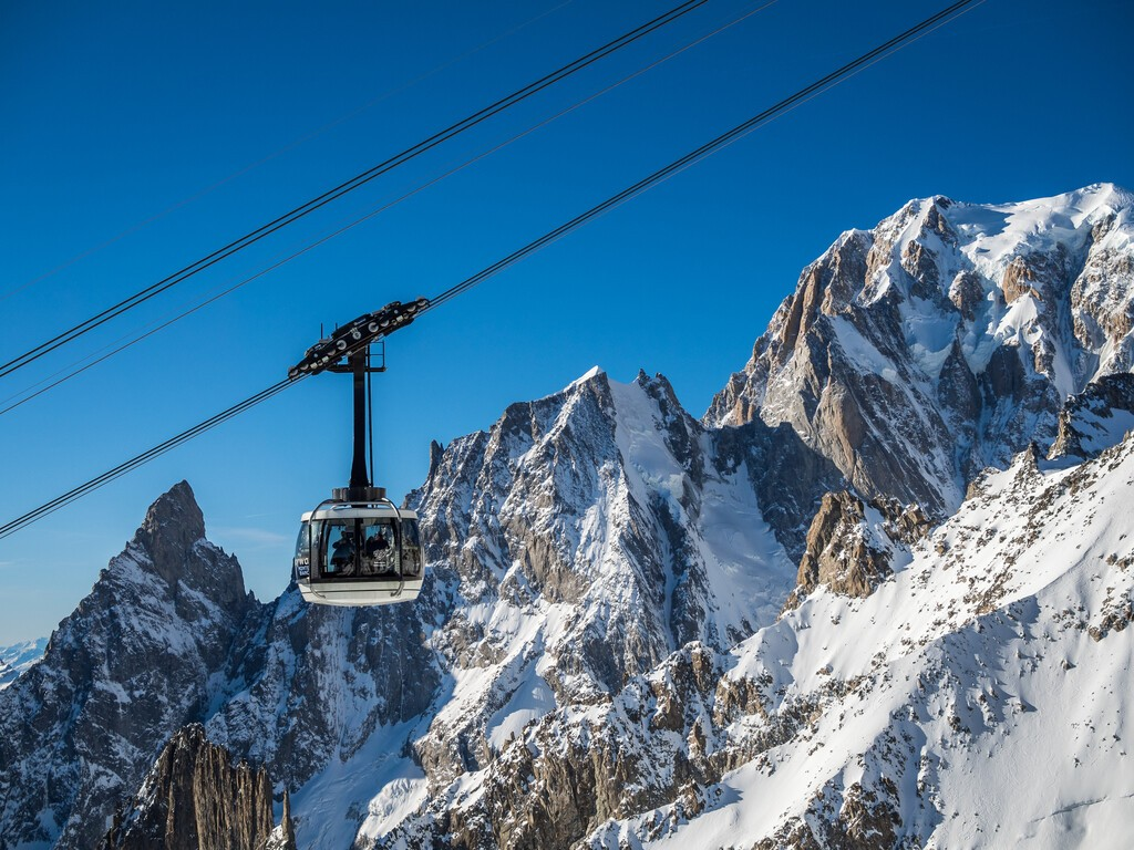 COURMAYEUR, IT - DEC 26, 2015: Cabin of the new SKYWAY Monte Bianco aerial cableway on the Mont Blanc massif in Aosta Valley region of Italy