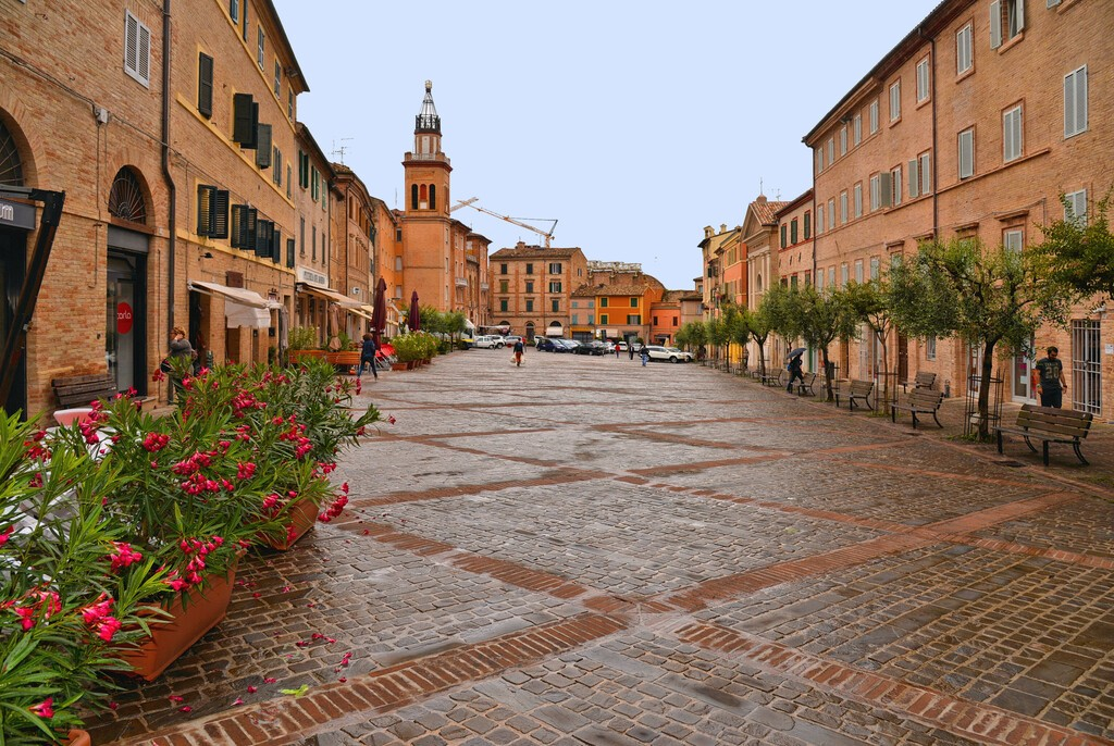 01.12.2018. Historical center of Macerata with old buildings and architecture, Marche, Italy