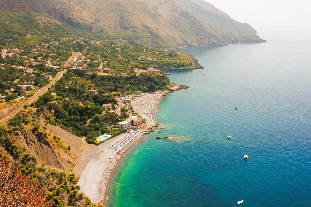 Aerial view of the village of Acquafredda (Maratea) in the Basilicata region of Southern Italy.