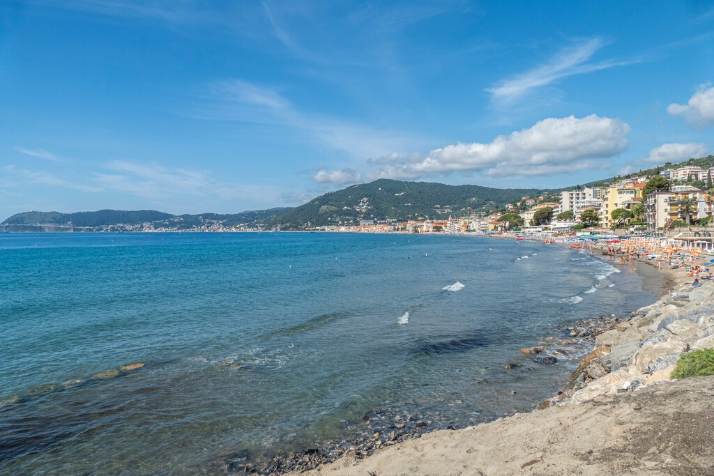 Alassio, Italy - 07-02-2021: Landscape of Alassio with his beautiful beach