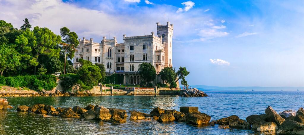 Beautiful romantic castles of Italy - elegant Miramare over the sea.  Trieste