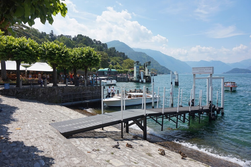 Bellagio, Lombardia/Italy - 07 09 2019 Pier for boats on the waterfront Bellagio on Lake Como.