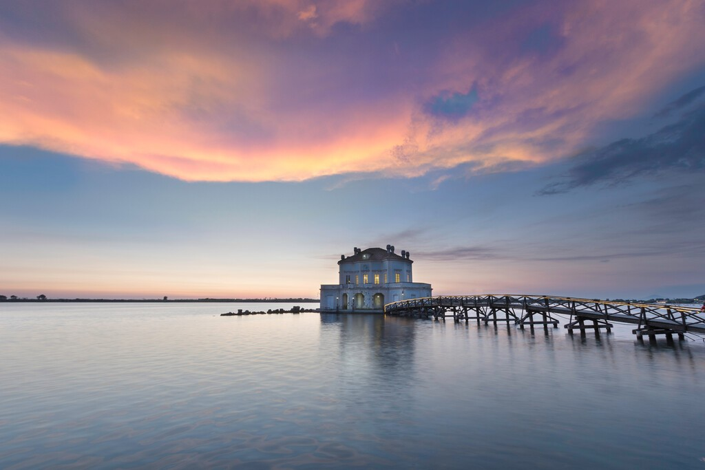 """Casina Vanvitelliana, Bacoli. Fusaro Lake in Naples in the heart of Naples The Bourbon royal family had this unique octagonal hunting """"cottage"""" built on a tiny islet in Lake Fusaro"""